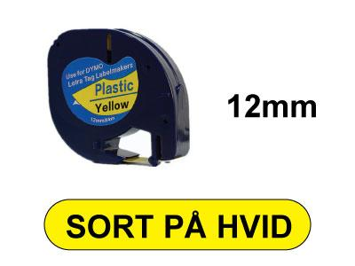 LetraTAG 12mm x 4m Sort på Gul
