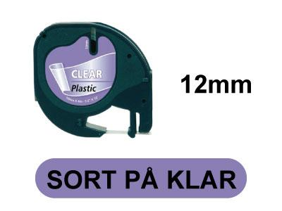 LetraTAG 12mm x 4m Sort på klar